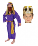 PURPLE WISE MAN KING & CROWN NATIVITY  COSTUME AGE 7-9 YRS